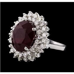 9.62 ctw Ruby and Diamond Ring - 14KT White Gold