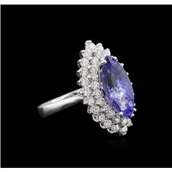 14KT White Gold 3.85 ctw Tanzanite and Diamond Ring