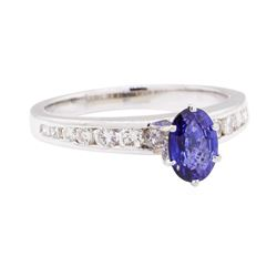 0.91 ctw Sapphire and Diamond Ring - 14KT White Gold