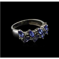 1.36 ctw Tanzanite and Diamond Ring - 14KT White Gold