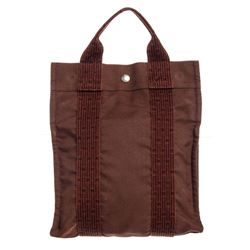 Hermes Brown Canvas Fourre Tout Cabas Tote Backpack