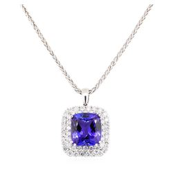 50.20 ctw Tanzanite and Diamond Pendant & Chain - 14KT White Gold