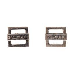 Bvlgari Sterling Silver 925 Square Logo Cufflinks