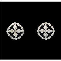 0.47 ctw Diamond Earrings - 14KT White Gold