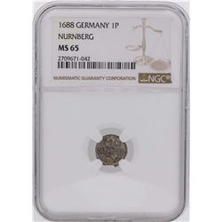 1688 Germany 1 Pfennig Nurnberg Coin NGC MS65