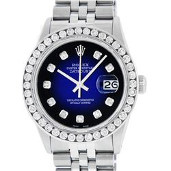 Rolex Mens Stainless Steel Blue Vignette 3 ctw Diamond Datejust Wristwatch