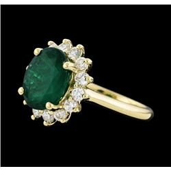 3.40 ctw Emerald and Diamond Ring - 14KT Yellow Gold