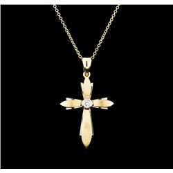 0.12 ctw Diamond Cross Pendant With Chain - 14KT Yellow Gold