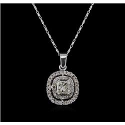 14KT White Gold 0.95 ctw Diamond Pendant With Chain
