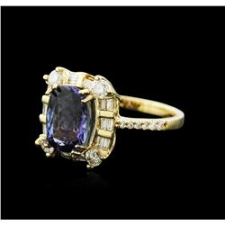 14KT Yellow Gold 3.61 ctw Tanzanite and Diamond Ring