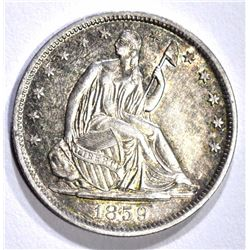 1859-O SEATED HALF DOLLAR, CH BU a few marks obv