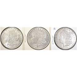 1921-P-D-S MORGAN DOLLARS, CH BU