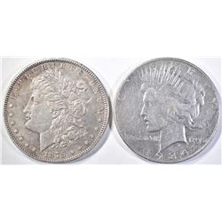 1879 AU MORGAN & 1934-S VF PEACE SILVER DOLLARS