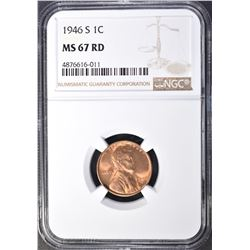 1946-S LINCOLN CENT, NGC MS-67 RED