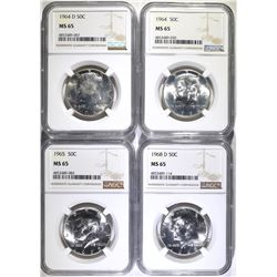 1964, 64-D, 65 & 68-D KENNEDY HALVES  NGC MS-65