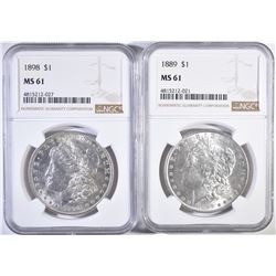2-NGC GRADED MORGAN DOLLARS: