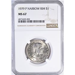 1979-P NARROW RIM SBA DOLLAR, NGC MS-67