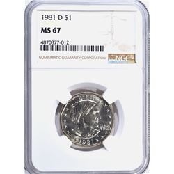1981-D SUSAN B.ANTHONY DOLLAR, NGC MS-67