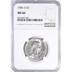 1981-S SBA DOLLAR, NGC MS-66