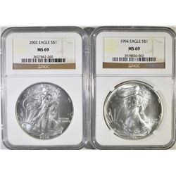 1994 & 2002 SILVER EAGLES   NGC  MS-69