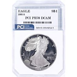 1992-S PROOF SILVER EAGLE PCI PERFECT PROOF DCAM
