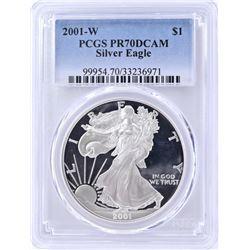 2001-W SILVER AMERICAN EAGLE  PCGS PR-70 DCAM