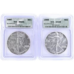 1987 & 1988 SILVER AMERICAN EAGLES  ICG MS-69
