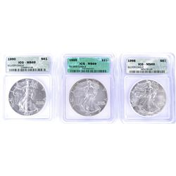 1990, 95, 98 SILVER AMERICAN EAGLES  ICG MS-69