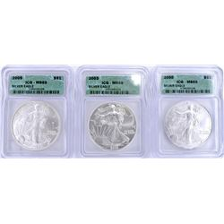 2000, 03, 05 SILVER AMERICAN EAGLES  ICG MS-69