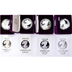 4 PROOF SILVER EAGLES WITH BOX AND CERT