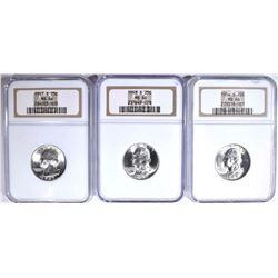 3 S MINT WASHINGTON QUARTERS NGC MS-66