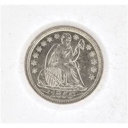 1855 WITH ARROWS SEATED LIBERTY DIME BU CLEANED