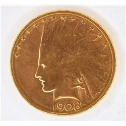 1908-D $10 GOLD INDIAN NO MOTTO CH BU