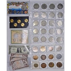 MIXED COLLECTOR LOT, TOKENS, COINS, CURRENCY