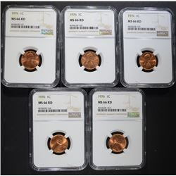5 - 1976 LINCOLN CENTS NGC MS66RD
