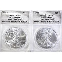 2-2015 AMERICAN SILVER EAGLES, ANACS MS-70
