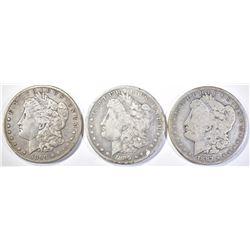 1887-O VG, 89-O F & 99-O XF MORGAN DOLLARS