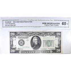 1934 A $20 FRN  CGA 65 OPQ RARE STAR NOTE