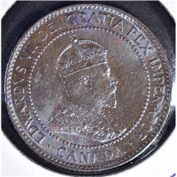 1902 ONE CENT CANADA GEM BU