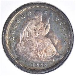 1838 SEATED DIME  LARGE STARS AU