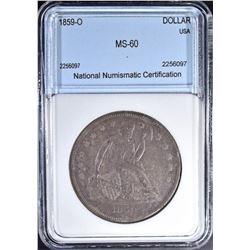 1859 O SEATED DOLLAR  NNC CH BU