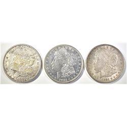 (2) 1921 AU/BU, (1) 1921-D CH BU MORGAN DOLLARS