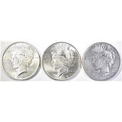 1922, 1923, 1924 PEACE DOLLARS  CH BU