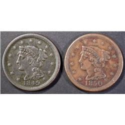 1849 & 1850 LARGE CENTS  XF
