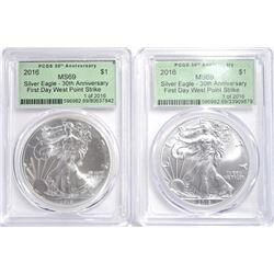 (2) 2016 30TH ANN. FIRST DAY ASE PCGS MS-69