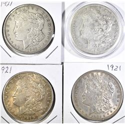 (3) 1921 AU, (1) 1921-S AU MORGAN DOLLARS