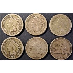 FLYING EAGLE & EARLY INDIAN CENT LOT: