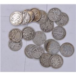20-CIRC WALKING LIBERTY HALF DOLLARS