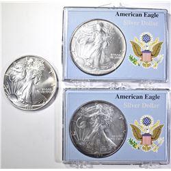 1991 & 2-1993 BU AMERICAN SILVER EAGLES