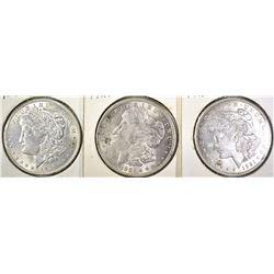3-1921 MORGAN DOLLARS, CH BU+